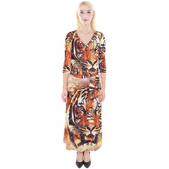 Tiger Portrait Art Abstract Quarter Sleeve Wrap Maxi Dress