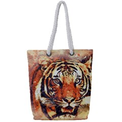 Tiger Portrait Art Abstract Full Print Rope Handle Tote (small)
