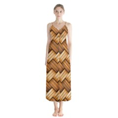 Basket Fibers Basket Texture Braid Button Up Chiffon Maxi Dress