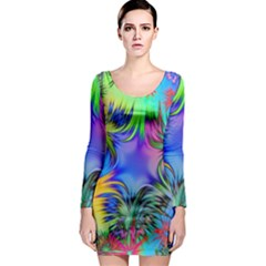 Star Abstract Colorful Fireworks Long Sleeve Bodycon Dress