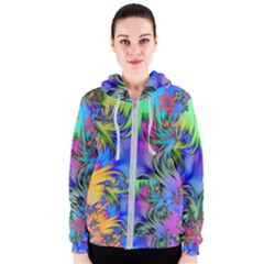 Star Abstract Colorful Fireworks Women s Zipper Hoodie