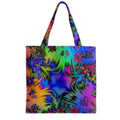 Star Abstract Colorful Fireworks Zipper Grocery Tote Bag