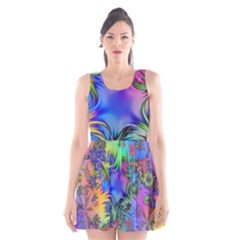 Star Abstract Colorful Fireworks Scoop Neck Skater Dress