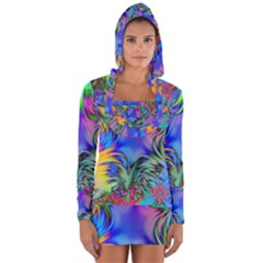 Star Abstract Colorful Fireworks Long Sleeve Hooded T Shirt