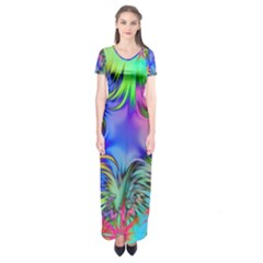 Star Abstract Colorful Fireworks Short Sleeve Maxi Dress