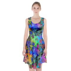 Star Abstract Colorful Fireworks Racerback Midi Dress