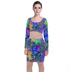 Star Abstract Colorful Fireworks Long Sleeve Crop Top & Bodycon Skirt Set