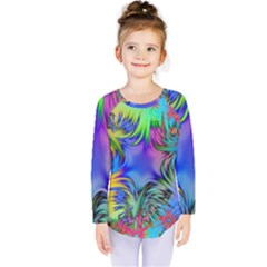 Star Abstract Colorful Fireworks Kids  Long Sleeve Tee