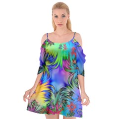 Star Abstract Colorful Fireworks Cutout Spaghetti Strap Chiffon Dress