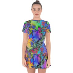 Star Abstract Colorful Fireworks Drop Hem Mini Chiffon Dress