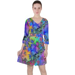 Star Abstract Colorful Fireworks Ruffle Dress