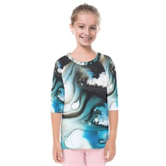 Abstract Painting Background Modern Kids  Quarter Sleeve Raglan Tee