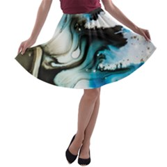 Abstract Painting Background Modern A Line Skater Skirt