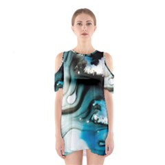 Abstract Painting Background Modern Shoulder Cutout One Piece
