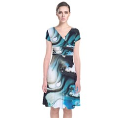 Abstract Painting Background Modern Short Sleeve Front Wrap Dress