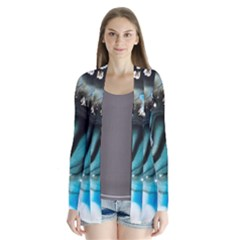 Abstract Painting Background Modern Drape Collar Cardigan