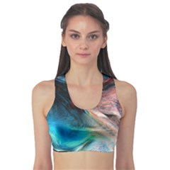 Background Art Abstract Watercolor Sports Bra