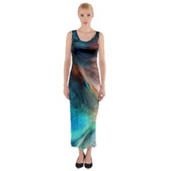 Background Art Abstract Watercolor Fitted Maxi Dress