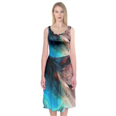 Background Art Abstract Watercolor Midi Sleeveless Dress