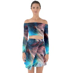 Background Art Abstract Watercolor Off Shoulder Top With Skirt Set