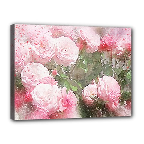 Flowers Roses Art Abstract Nature Canvas 16  X 12