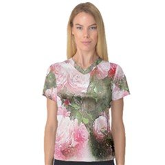 Flowers Roses Art Abstract Nature V Neck Sport Mesh Tee