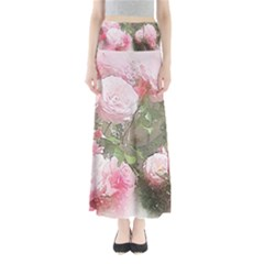 Flowers Roses Art Abstract Nature Full Length Maxi Skirt