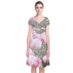 Flowers Roses Art Abstract Nature Short Sleeve Front Wrap Dress