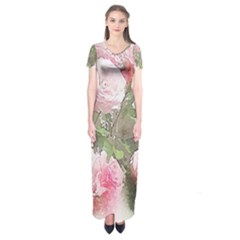 Flowers Roses Art Abstract Nature Short Sleeve Maxi Dress