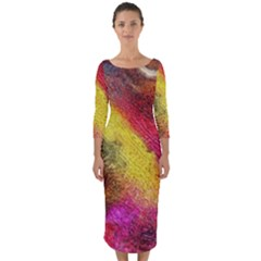 Background Art Abstract Watercolor Quarter Sleeve Midi Bodycon Dress