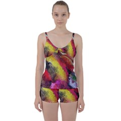 Background Art Abstract Watercolor Tie Front Two Piece Tankini