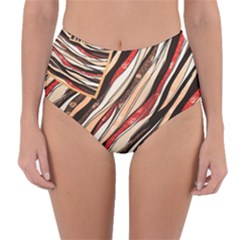 Fabric Texture Color Pattern Reversible High Waist Bikini Bottoms