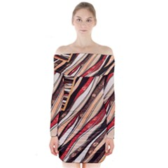 Fabric Texture Color Pattern Long Sleeve Off Shoulder Dress