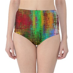 Color Abstract Background Textures High Waist Bikini Bottoms
