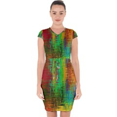 Color Abstract Background Textures Capsleeve Drawstring Dress