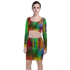 Color Abstract Background Textures Long Sleeve Crop Top & Bodycon Skirt Set