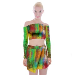 Color Abstract Background Textures Off Shoulder Top With Mini Skirt Set