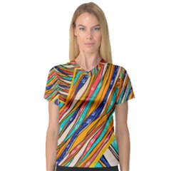Fabric Texture Color Pattern V Neck Sport Mesh Tee