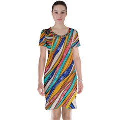 Fabric Texture Color Pattern Short Sleeve Nightdress