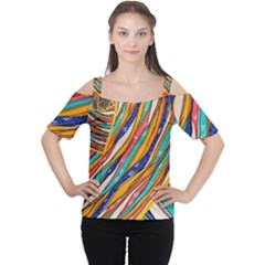 Fabric Texture Color Pattern Cutout Shoulder Tee