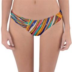 Fabric Texture Color Pattern Reversible Hipster Bikini Bottoms