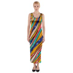 Fabric Texture Color Pattern Fitted Maxi Dress
