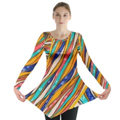 Fabric Texture Color Pattern Long Sleeve Tunic