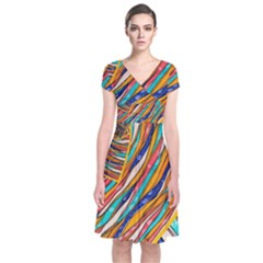 Fabric Texture Color Pattern Short Sleeve Front Wrap Dress