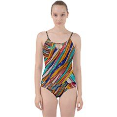 Fabric Texture Color Pattern Cut Out Top Tankini Set