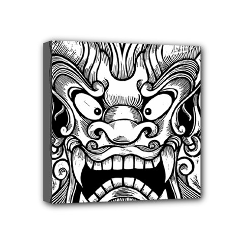 Japanese Onigawara Mask Devil Ghost Face Mini Canvas 4  X 4