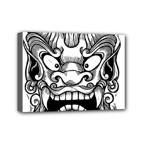 Japanese Onigawara Mask Devil Ghost Face Mini Canvas 7  X 5