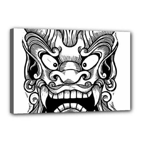 Japanese Onigawara Mask Devil Ghost Face Canvas 18  X 12