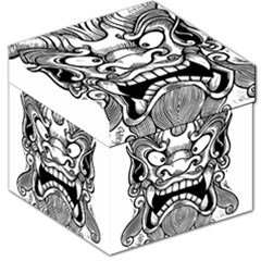 Japanese Onigawara Mask Devil Ghost Face Storage Stool 12