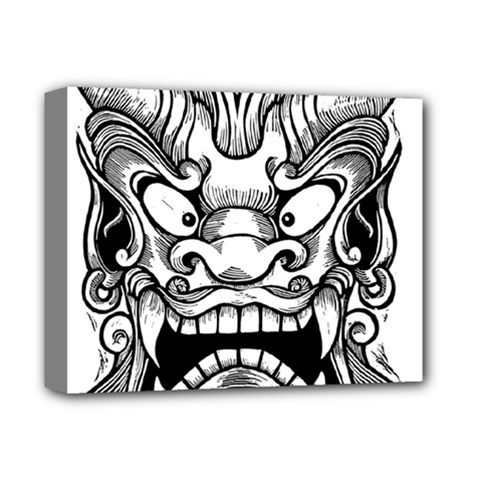 Japanese Onigawara Mask Devil Ghost Face Deluxe Canvas 14  X 11
